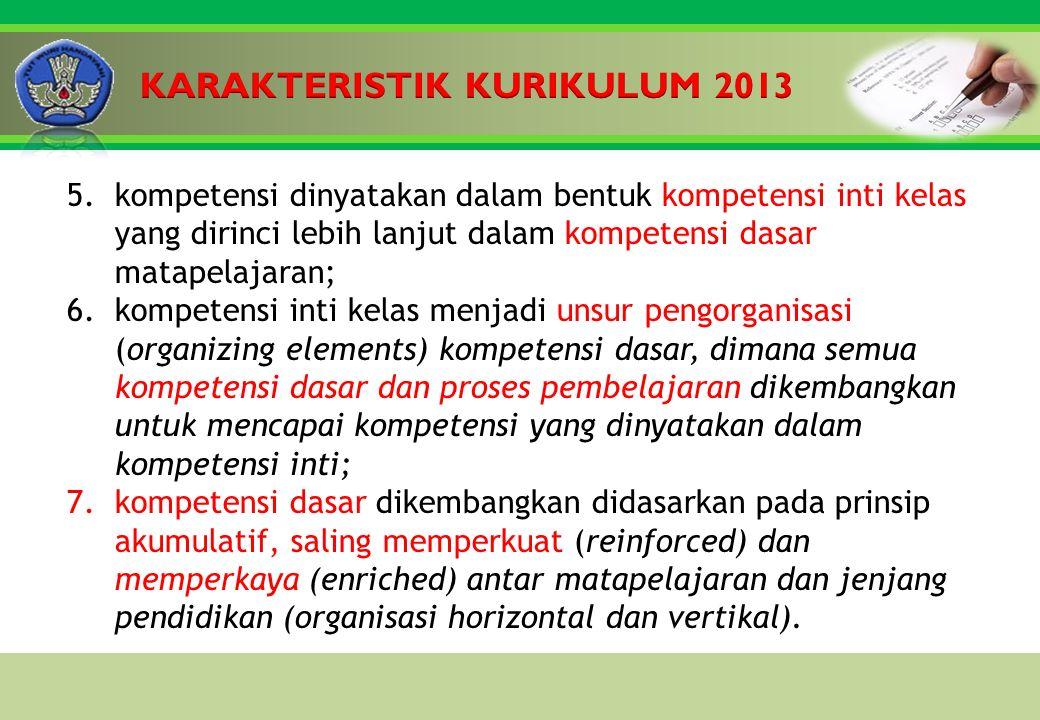 Click to edit Master title style 5.kompetensi dinyatakan dalam bentuk kompetensi inti kelas yang dirinci lebih lanjut dalam kompetensi dasar matapelajaran; 6.kompetensi inti kelas menjadi unsur pengorganisasi (organizing elements) kompetensi dasar, dimana semua kompetensi dasar dan proses pembelajaran dikembangkan untuk mencapai kompetensi yang dinyatakan dalam kompetensi inti; 7.kompetensi dasar dikembangkan didasarkan pada prinsip akumulatif, saling memperkuat (reinforced) dan memperkaya (enriched) antar matapelajaran dan jenjang pendidikan (organisasi horizontal dan vertikal).