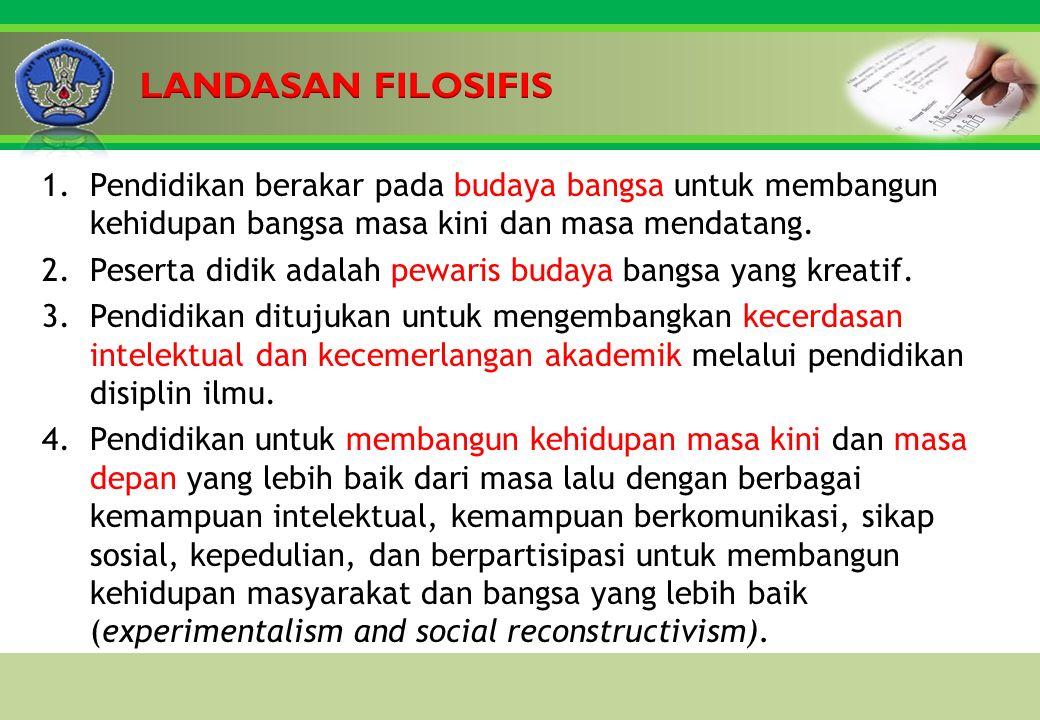 Click to edit Master title style 1.Pendidikan berakar pada budaya bangsa untuk membangun kehidupan bangsa masa kini dan masa mendatang.