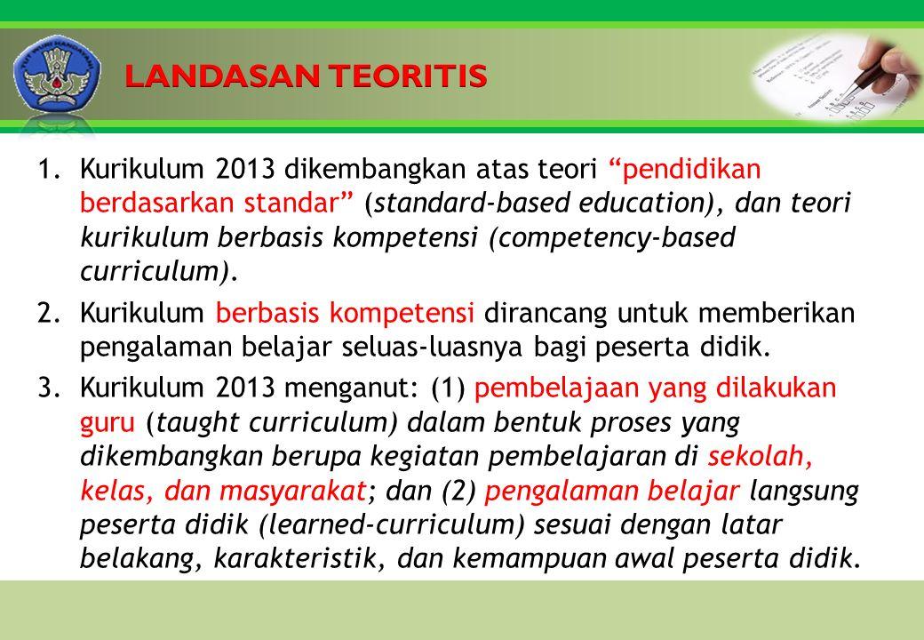 Click to edit Master title style 1.Kurikulum 2013 dikembangkan atas teori pendidikan berdasarkan standar (standard-based education), dan teori kurikulum berbasis kompetensi (competency-based curriculum).
