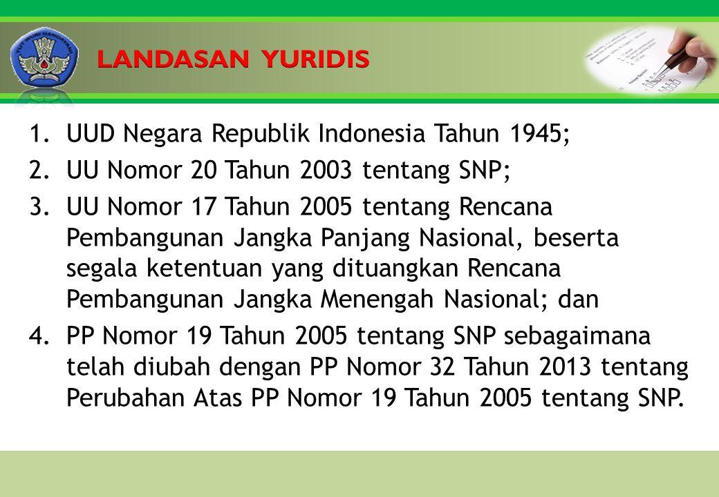 Click to edit Master title style 1.UUD Negara Republik Indonesia Tahun 1945; 2.UU Nomor 20 Tahun 2003 tentang SNP; 3.UU Nomor 17 Tahun 2005 tentang Rencana Pembangunan Jangka Panjang Nasional, beserta segala ketentuan yang dituangkan Rencana Pembangunan Jangka Menengah Nasional; dan 4.PP Nomor 19 Tahun 2005 tentang SNP sebagaimana telah diubah dengan PP Nomor 32 Tahun 2013 tentang Perubahan Atas PP Nomor 19 Tahun 2005 tentang SNP.