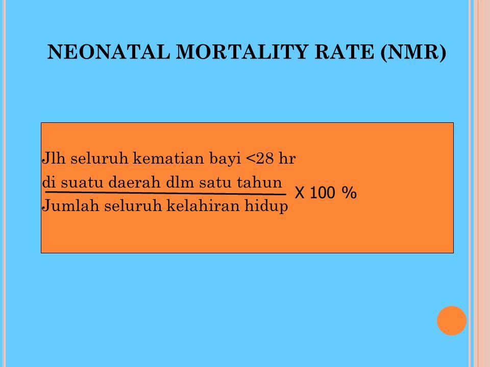 PERINATAL MORTALITY RATE (PNMR) Jlh seluruh kematian bayi usia 1mgg di suatu daerah dlm satu tahun Jumlah seluruh kelahiran hidup X 100 %