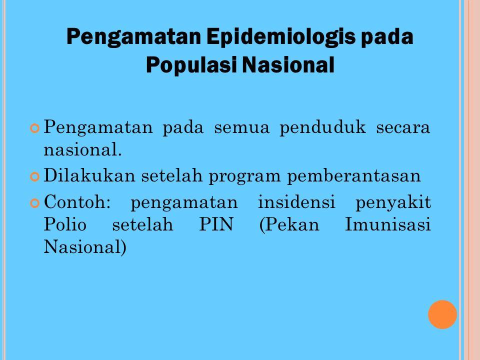 P ENGAMATAN E PIDEMIOLOGIS PADA P OPULASI L OKAL Kelompok individu yg terbatas pada orang2 yg berisiko terkena suatu penyakit (population at risk) Pen