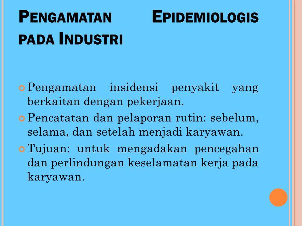 P ENGAMATAN E PIDEMIOLOGIS DI RS (H OSPITAL S URVEILANCE ) Tempat yg paling mudah menularkan penyakit: penderita ke penderita, petugas kesehatan ke pe