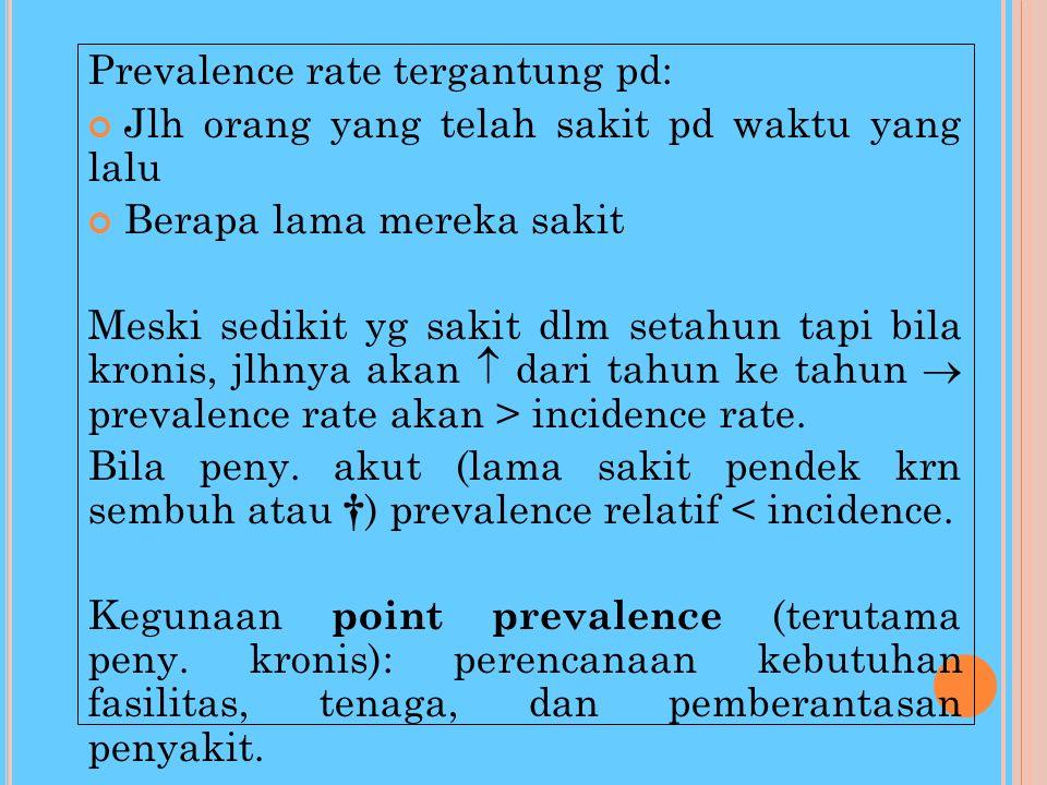 PREVALENCE RATE (POINT PREVALENCE RATE) mengukur jumlah orang dikalangan penduduk yang menderita st penyakit pada satu titik waktu tertentu. Prevalenc