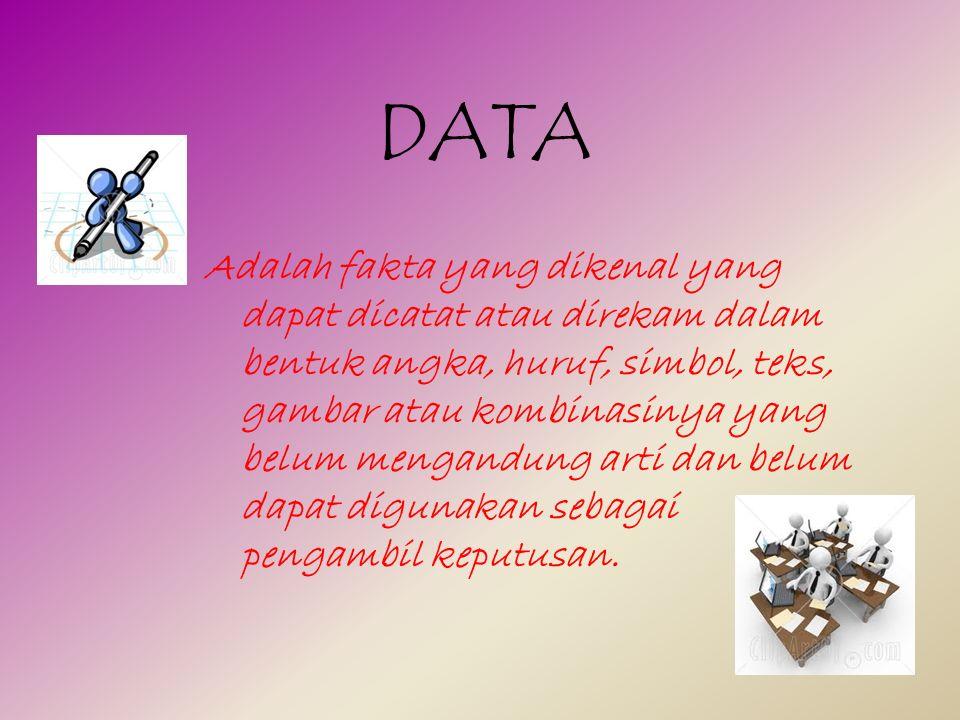 DATA Adalah fakta yang dikenal yang dapat dicatat atau direkam dalam bentuk angka, huruf, simbol, teks, gambar atau kombinasinya yang belum mengandung arti dan belum dapat digunakan sebagai pengambil keputusan.