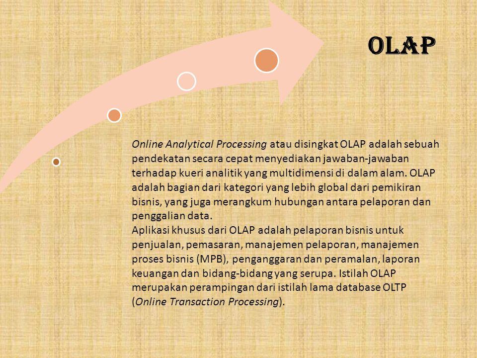 OLAP Online Analytical Processing atau disingkat OLAP adalah sebuah pendekatan secara cepat menyediakan jawaban-jawaban terhadap kueri analitik yang multidimensi di dalam alam.