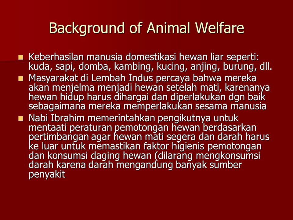 Background of Animal Welfare Keberhasilan manusia domestikasi hewan liar seperti: kuda, sapi, domba, kambing, kucing, anjing, burung, dll. Keberhasila