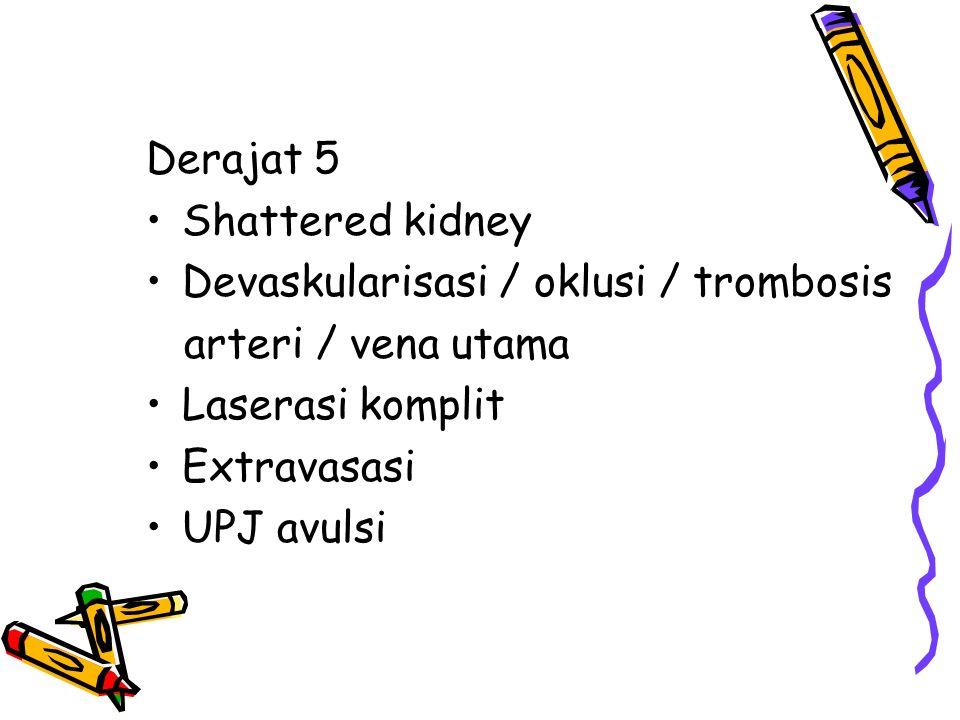 Derajat 5 Shattered kidney Devaskularisasi / oklusi / trombosis arteri / vena utama Laserasi komplit Extravasasi UPJ avulsi
