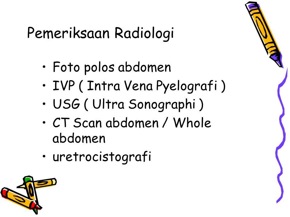 Pemeriksaan Radiologi Foto polos abdomen IVP ( Intra Vena Pyelografi ) USG ( Ultra Sonographi ) CT Scan abdomen / Whole abdomen uretrocistografi