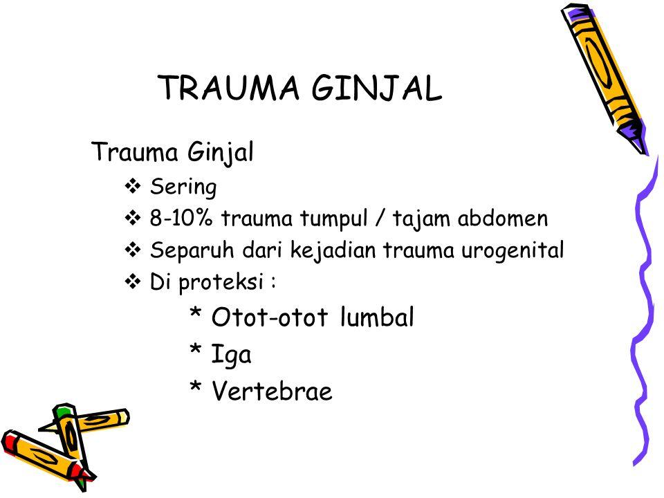 TRAUMA GINJAL Trauma Ginjal  Sering  8-10% trauma tumpul / tajam abdomen  Separuh dari kejadian trauma urogenital  Di proteksi : * Otot-otot lumba