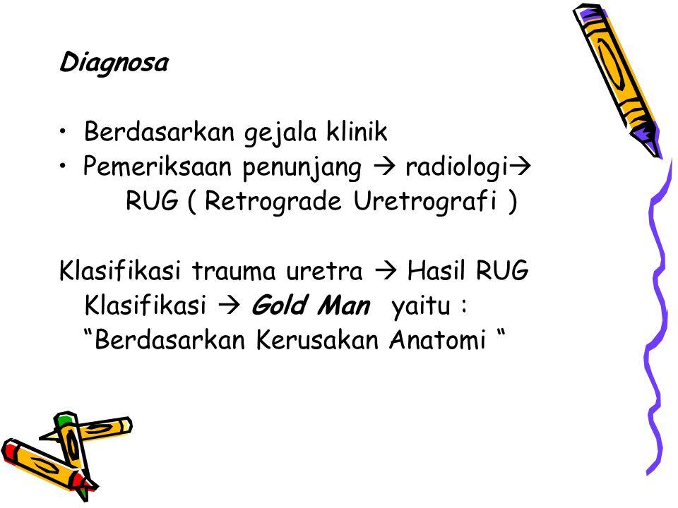 Diagnosa Berdasarkan gejala klinik Pemeriksaan penunjang  radiologi  RUG ( Retrograde Uretrografi ) Klasifikasi trauma uretra  Hasil RUG Klasifikas