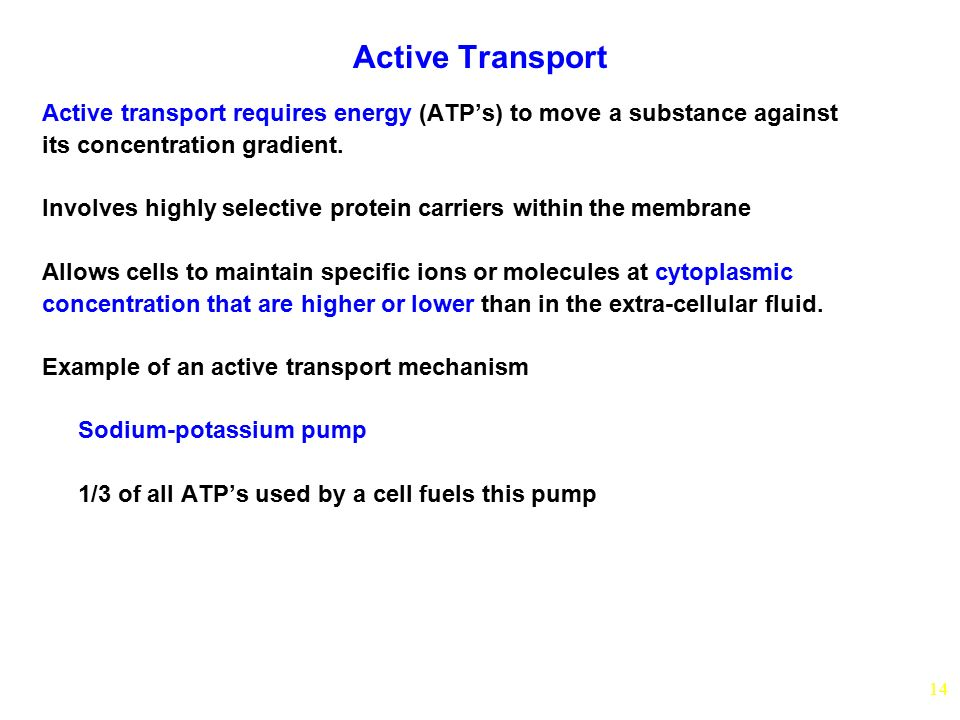 14 Active Transport Active transport requires energy (ATP's) to move a substance against its concentration gradient. Involves highly selective protein