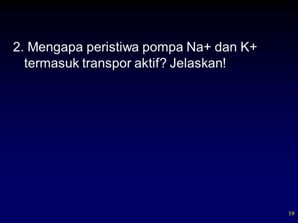 19 2. Mengapa peristiwa pompa Na+ dan K+ termasuk transpor aktif Jelaskan!