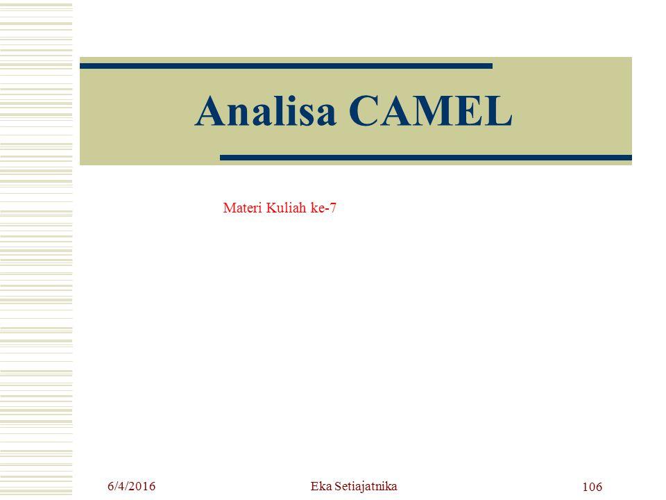 Analisa CAMEL Materi Kuliah ke-7 6/4/2016 106 Eka Setiajatnika
