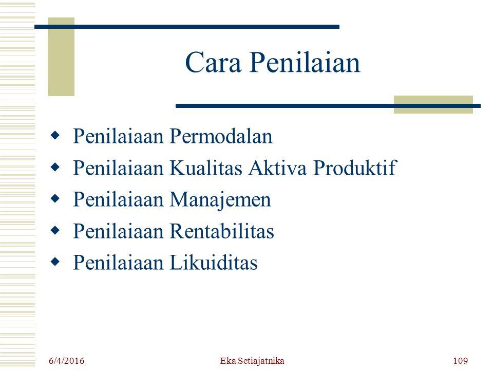Cara Penilaian  Penilaiaan Permodalan  Penilaiaan Kualitas Aktiva Produktif  Penilaiaan Manajemen  Penilaiaan Rentabilitas  Penilaiaan Likuiditas