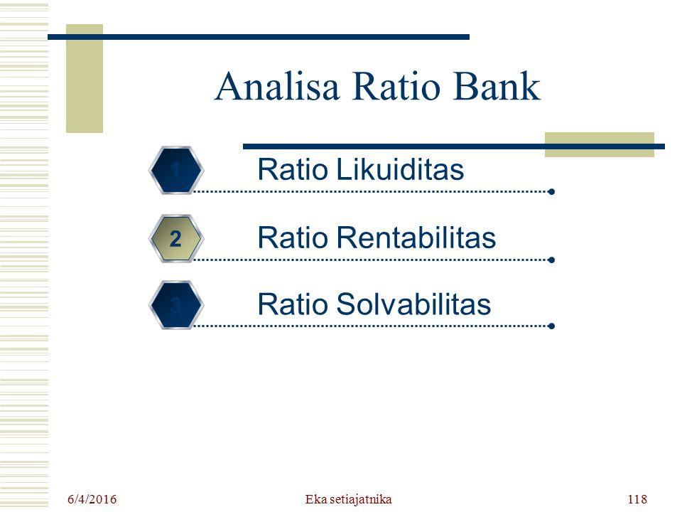 Eka setiajatnika Analisa Ratio Bank Ratio Likuiditas 1 Ratio Rentabilitas 2 Ratio Solvabilitas 3 6/4/2016 118