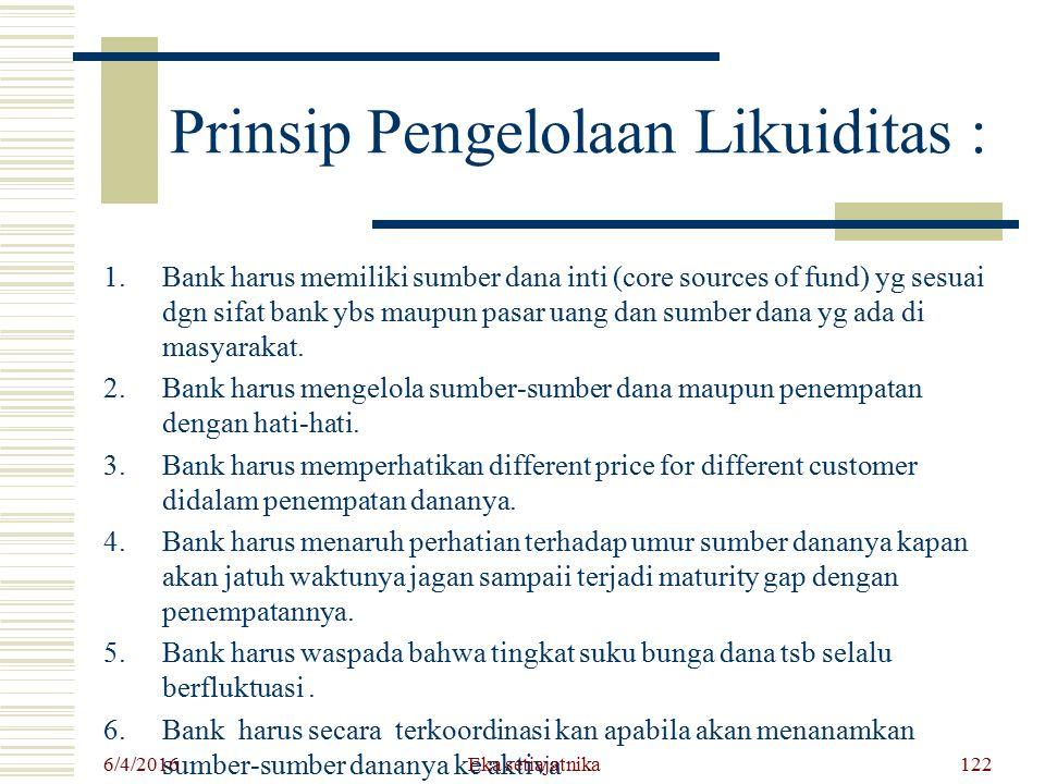 Prinsip Pengelolaan Likuiditas : 1.Bank harus memiliki sumber dana inti (core sources of fund) yg sesuai dgn sifat bank ybs maupun pasar uang dan sumb