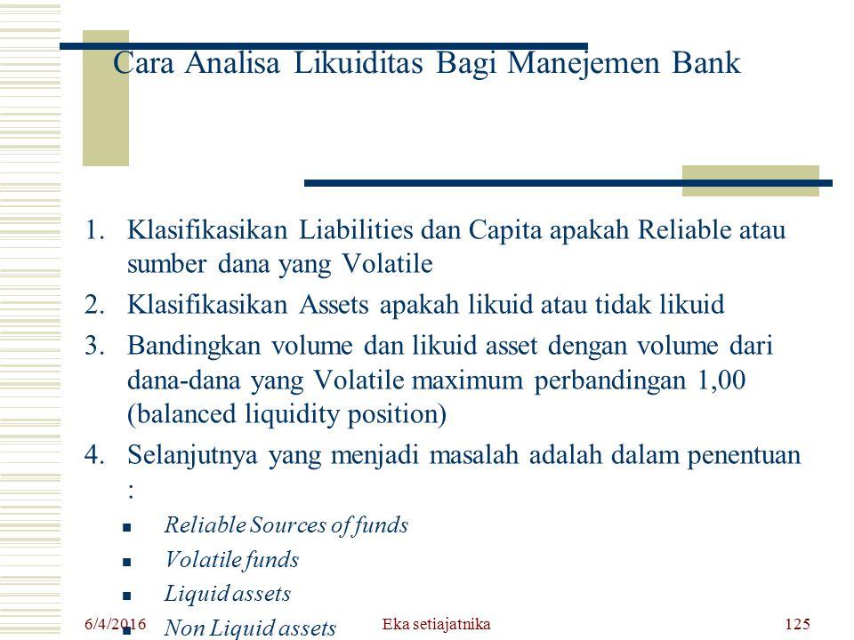 Cara Analisa Likuiditas Bagi Manejemen Bank 1.Klasifikasikan Liabilities dan Capita apakah Reliable atau sumber dana yang Volatile 2.Klasifikasikan As