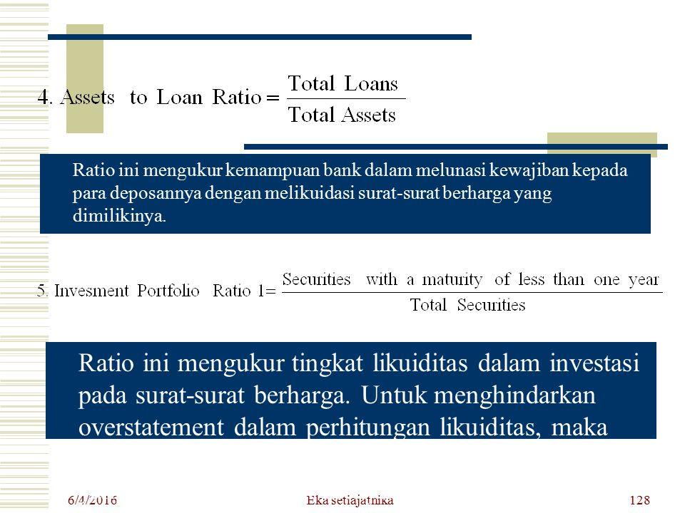 6/4/2016 Eka setiajatnika128 Ratio ini mengukur tingkat likuiditas dalam investasi pada surat-surat berharga. Untuk menghindarkan overstatement dalam