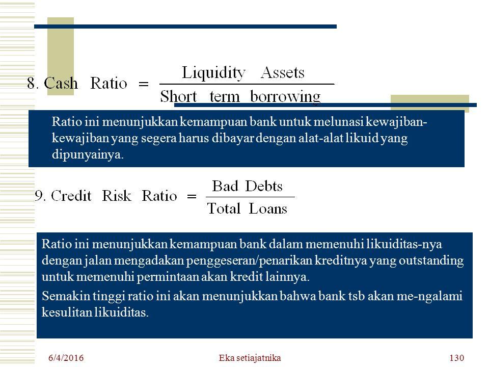 6/4/2016 Eka setiajatnika130 Ratio ini menunjukkan kemampuan bank untuk melunasi kewajiban- kewajiban yang segera harus dibayar dengan alat-alat likui