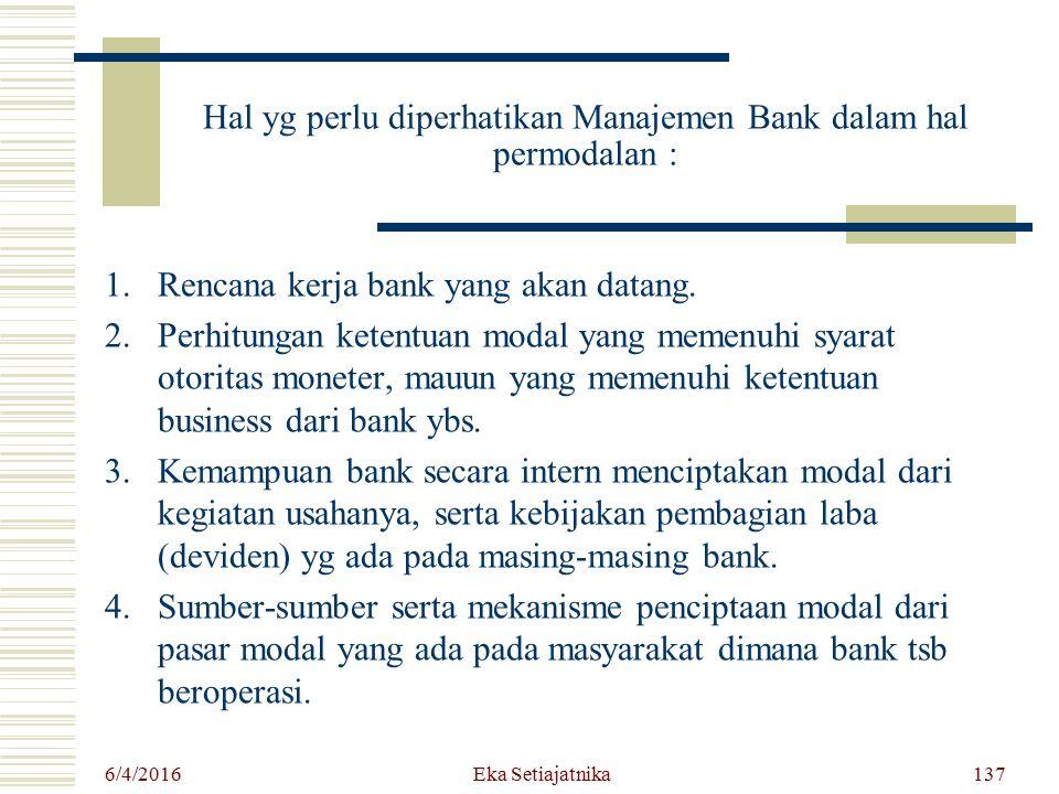 Hal yg perlu diperhatikan Manajemen Bank dalam hal permodalan : 1.Rencana kerja bank yang akan datang. 2.Perhitungan ketentuan modal yang memenuhi sya