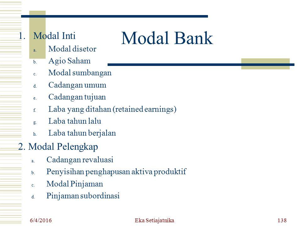 Modal Bank 1.Modal Inti a. Modal disetor b. Agio Saham c. Modal sumbangan d. Cadangan umum e. Cadangan tujuan f. Laba yang ditahan (retained earnings)