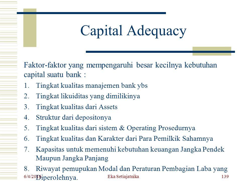Capital Adequacy Faktor-faktor yang mempengaruhi besar kecilnya kebutuhan capital suatu bank : 1.Tingkat kualitas manajemen bank ybs 2.Tingkat likuidi