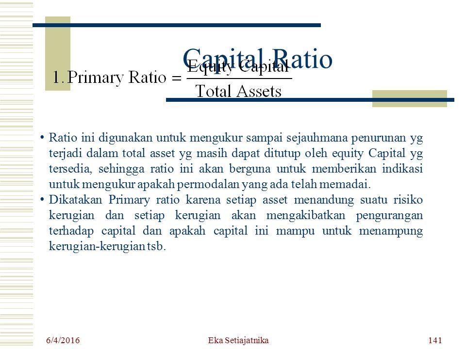 Capital Ratio 6/4/2016 Eka Setiajatnika Ratio ini digunakan untuk mengukur sampai sejauhmana penurunan yg terjadi dalam total asset yg masih dapat dit