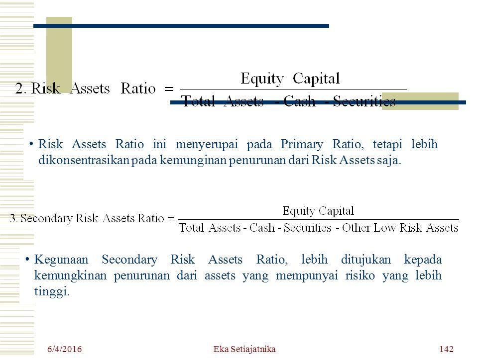 6/4/2016 Eka Setiajatnika Risk Assets Ratio ini menyerupai pada Primary Ratio, tetapi lebih dikonsentrasikan pada kemunginan penurunan dari Risk Asset