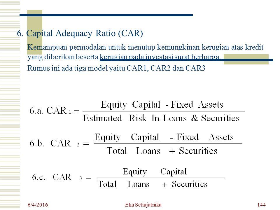 6. Capital Adequacy Ratio (CAR) Kemampuan permodalan untuk menutup kemungkinan kerugian atas kredit yang diberikan beserta kerugian pada investasi sur