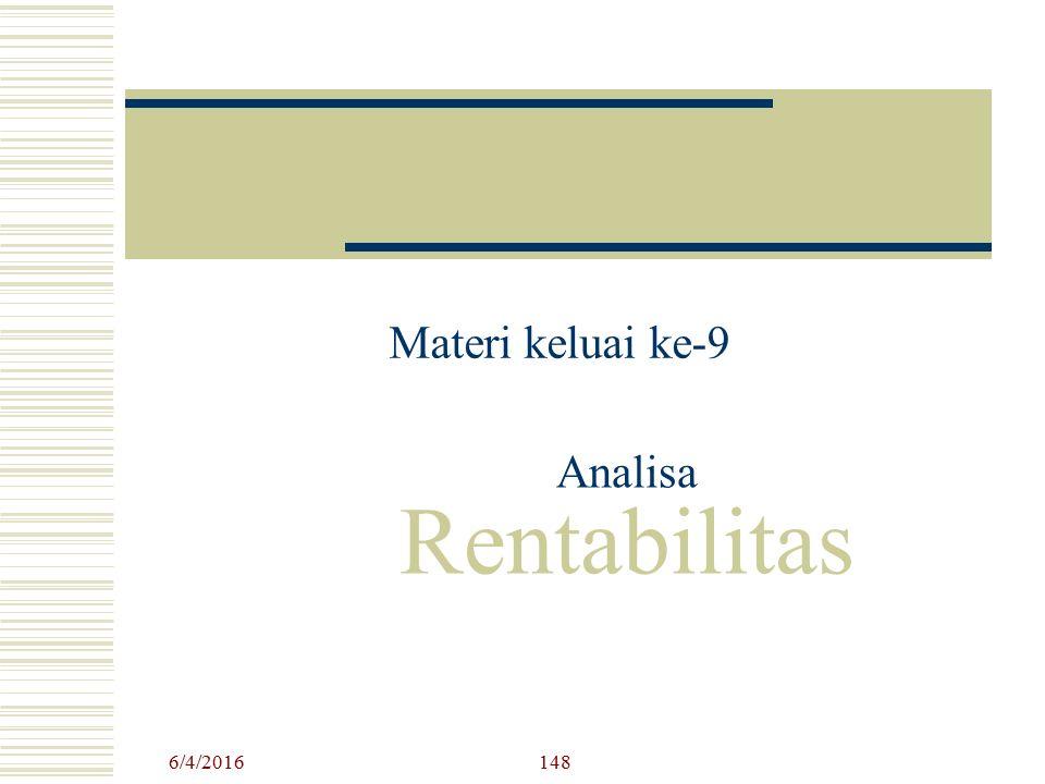 Analisa Rentabilitas Materi keluai ke-9 6/4/2016148