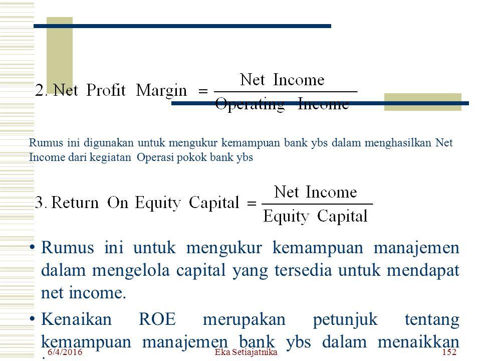 Rumus ini digunakan untuk mengukur kemampuan bank ybs dalam menghasilkan Net Income dari kegiatan Operasi pokok bank ybs 6/4/2016 Eka Setiajatnika152