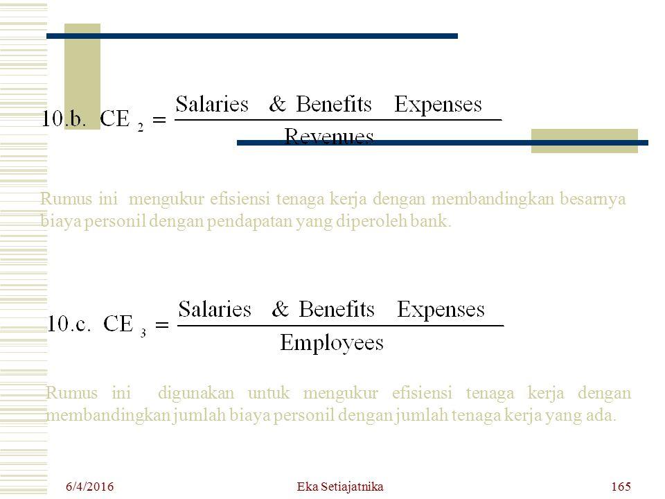 6/4/2016 Eka Setiajatnika165 Rumus ini mengukur efisiensi tenaga kerja dengan membandingkan besarnya biaya personil dengan pendapatan yang diperoleh b