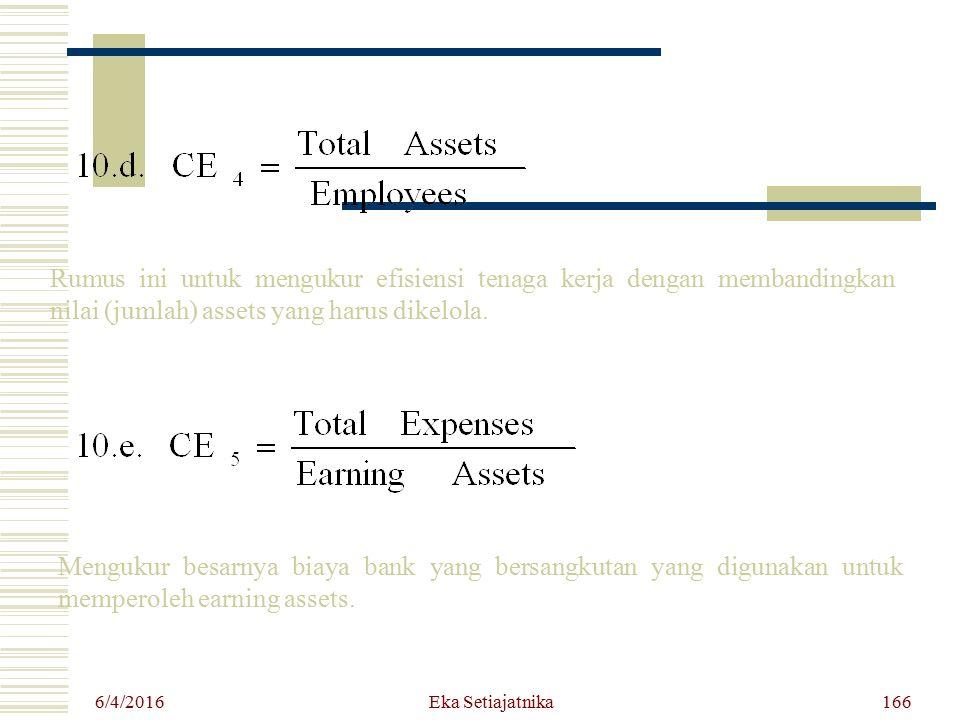 6/4/2016 Eka Setiajatnika166 Rumus ini untuk mengukur efisiensi tenaga kerja dengan membandingkan nilai (jumlah) assets yang harus dikelola. Mengukur