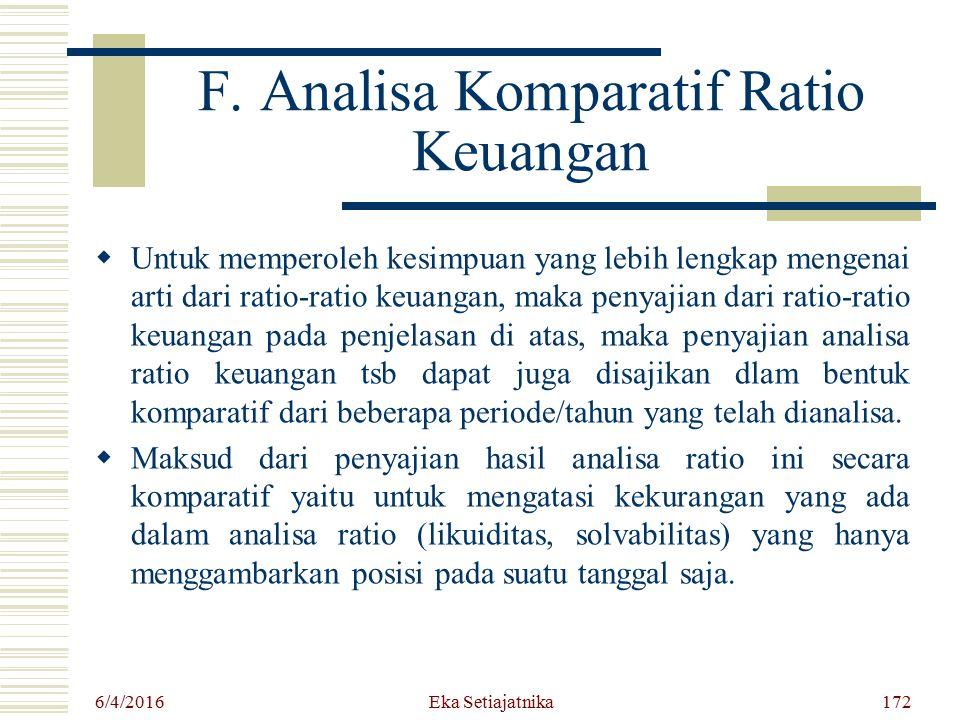 F. Analisa Komparatif Ratio Keuangan UU ntuk memperoleh kesimpuan yang lebih lengkap mengenai arti dari ratio-ratio keuangan, maka penyajian dari ra