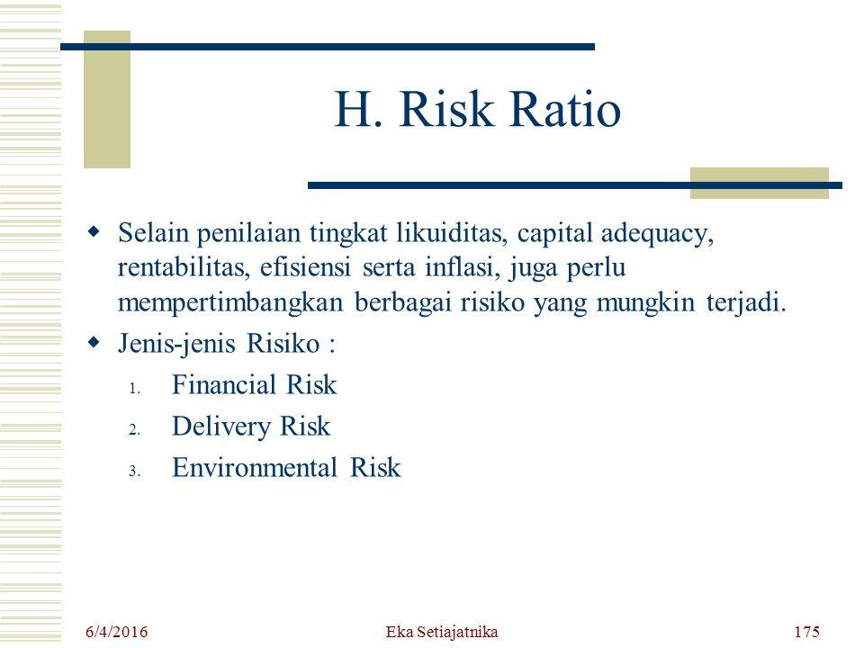 H. Risk Ratio SS elain penilaian tingkat likuiditas, capital adequacy, rentabilitas, efisiensi serta inflasi, juga perlu mempertimbangkan berbagai r