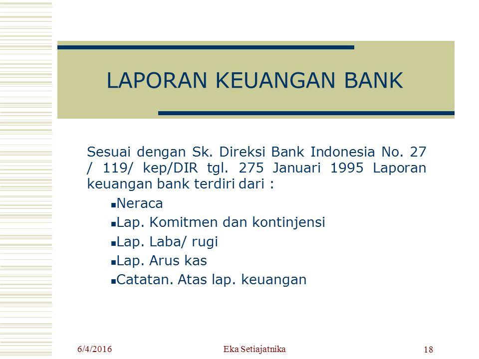 LAPORAN KEUANGAN BANK Sesuai dengan Sk. Direksi Bank Indonesia No. 27 / 119/ kep/DIR tgl. 275 Januari 1995 Laporan keuangan bank terdiri dari : Neraca