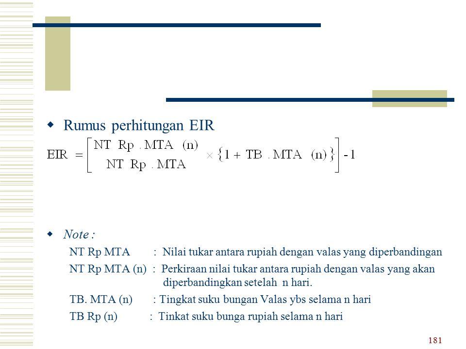  Rumus perhitungan EIR  Note : NT Rp MTA : Nilai tukar antara rupiah dengan valas yang diperbandingan NT Rp MTA (n) : Perkiraan nilai tukar antara r