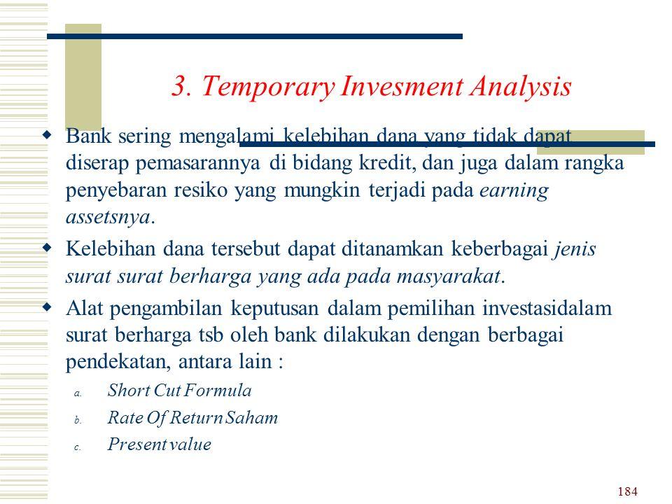 3. Temporary Invesment Analysis BB ank sering mengalami kelebihan dana yang tidak dapat diserap pemasarannya di bidang kredit, dan juga dalam rangka