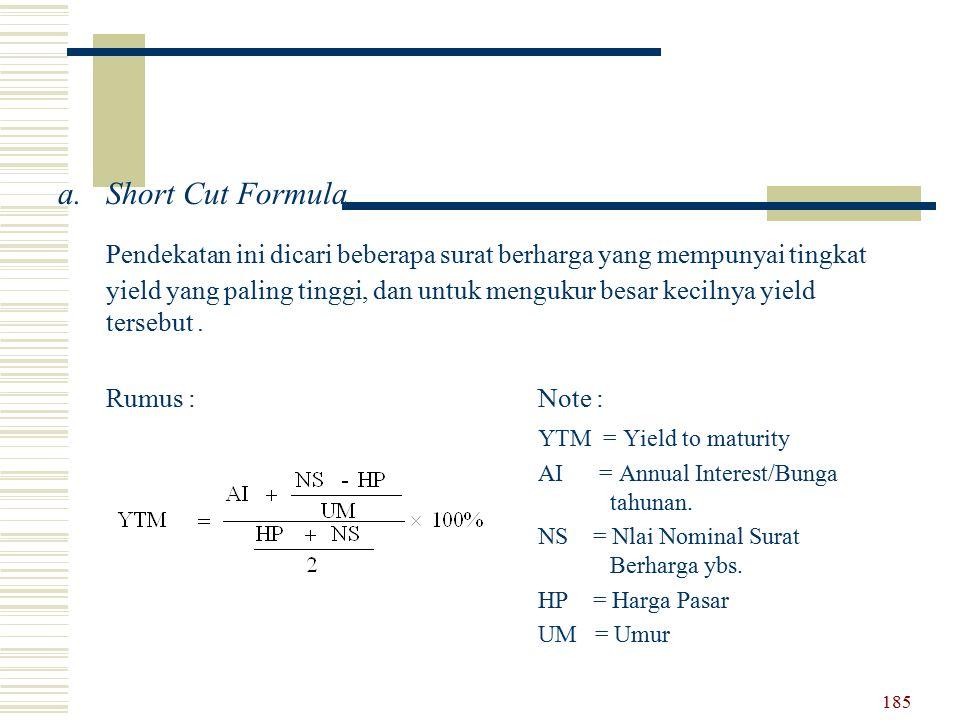 a.Short Cut Formula Pendekatan ini dicari beberapa surat berharga yang mempunyai tingkat yield yang paling tinggi, dan untuk mengukur besar kecilnya y
