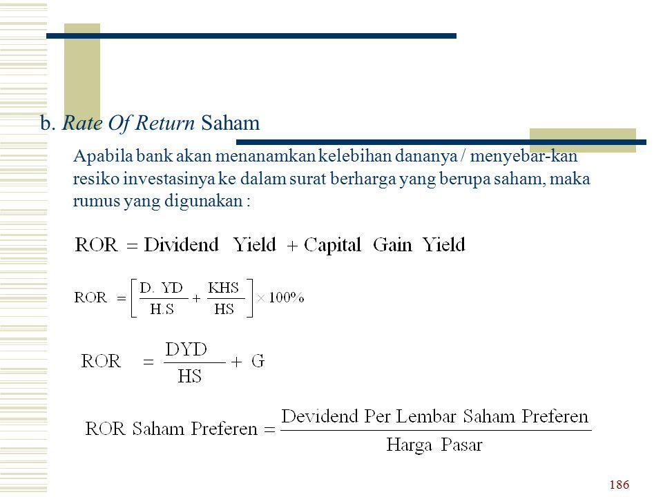 b. Rate Of Return Saham Apabila bank akan menanamkan kelebihan dananya / menyebar-kan resiko investasinya ke dalam surat berharga yang berupa saham, m