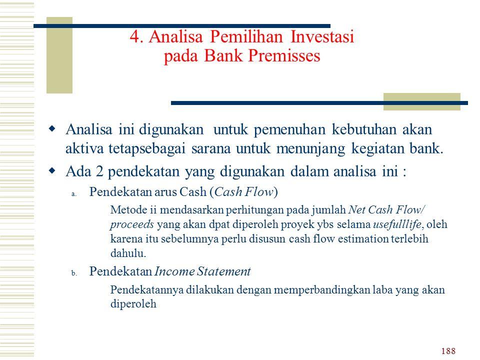 4. Analisa Pemilihan Investasi pada Bank Premisses AA nalisa ini digunakan untuk pemenuhan kebutuhan akan aktiva tetapsebagai sarana untuk menunjang
