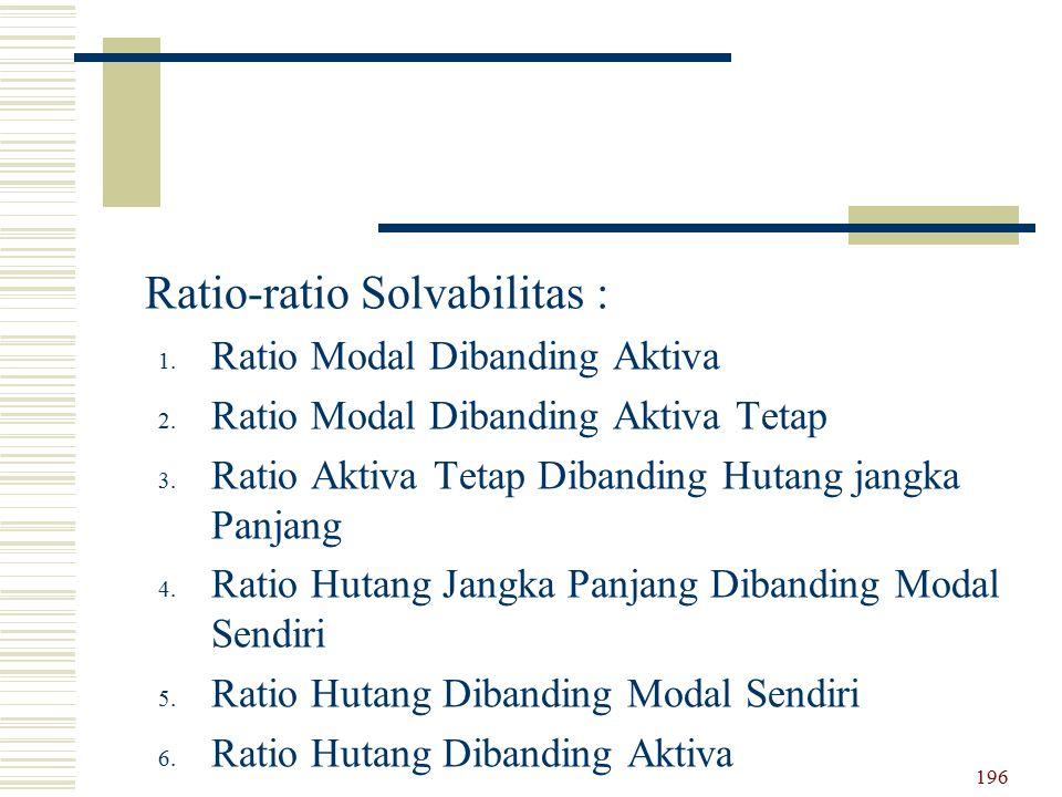 Ratio-ratio Solvabilitas : 1. Ratio Modal Dibanding Aktiva 2. Ratio Modal Dibanding Aktiva Tetap 3. Ratio Aktiva Tetap Dibanding Hutang jangka Panjang
