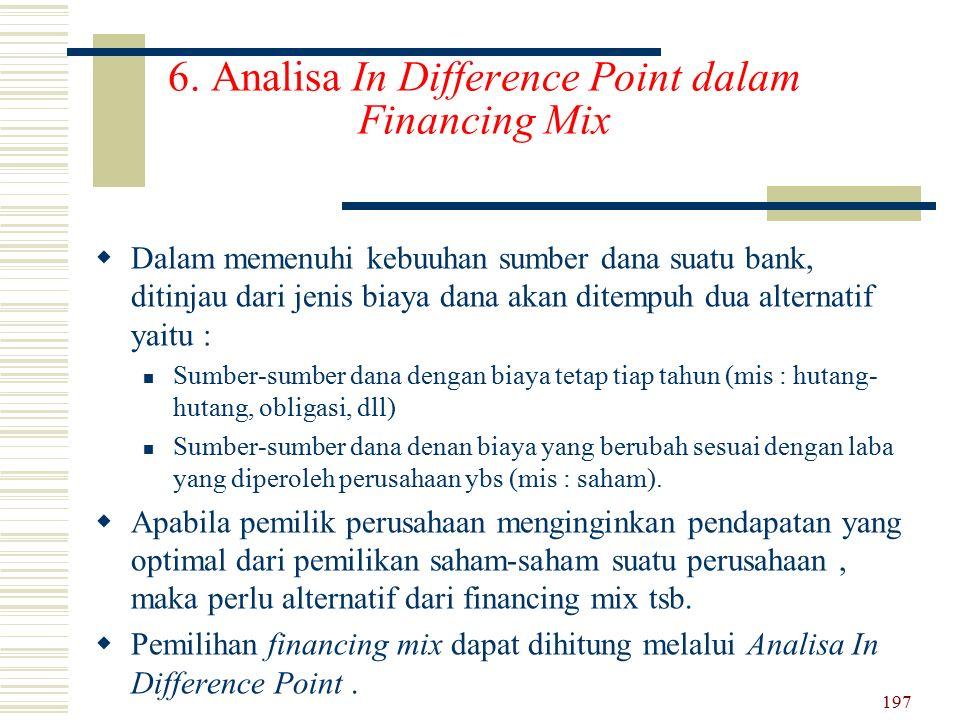 6. Analisa In Difference Point dalam Financing Mix DD alam memenuhi kebuuhan sumber dana suatu bank, ditinjau dari jenis biaya dana akan ditempuh du