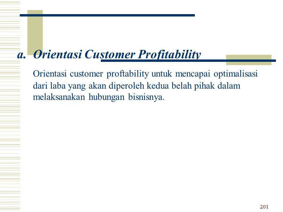 a.Orientasi Customer Profitability Orientasi customer proftability untuk mencapai optimalisasi dari laba yang akan diperoleh kedua belah pihak dalam m