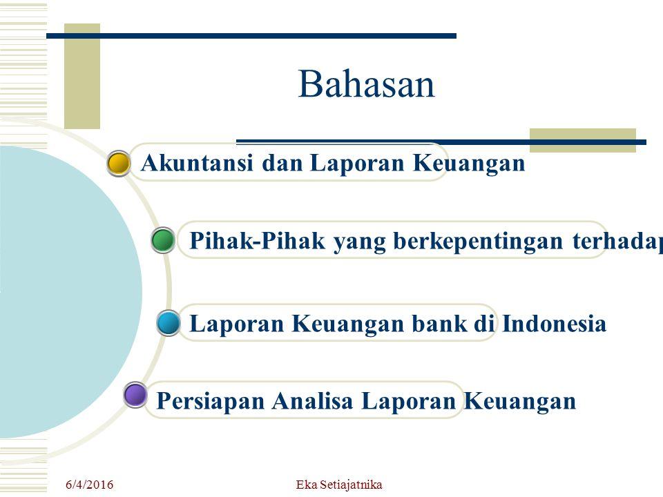 6/4/2016 Eka Setiajatnika Bahasan Persiapan Analisa Laporan Keuangan Laporan Keuangan bank di Indonesia Pihak-Pihak yang berkepentingan terhadap LK Ba