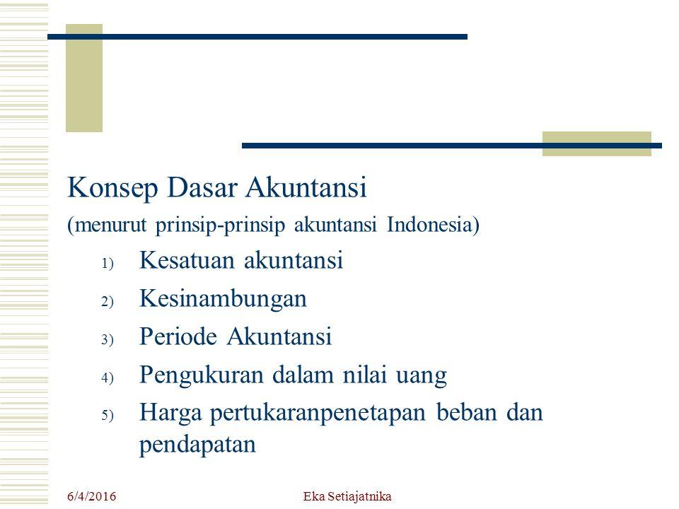 Konsep Dasar Akuntansi (menurut prinsip-prinsip akuntansi Indonesia) 1) Kesatuan akuntansi 2) Kesinambungan 3) Periode Akuntansi 4) Pengukuran dalam n
