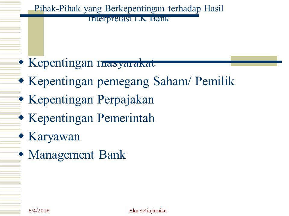 Pihak-Pihak yang Berkepentingan terhadap Hasil Interpretasi LK Bank  Kepentingan masyarakat  Kepentingan pemegang Saham/ Pemilik  Kepentingan Perpa