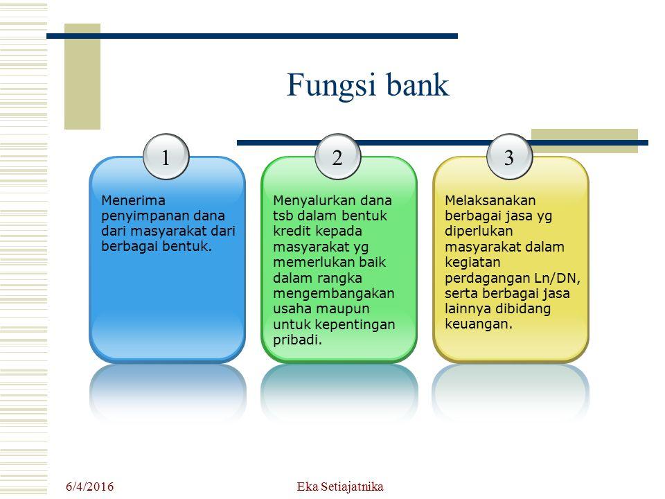 6/4/2016 Eka Setiajatnika Fungsi bank 1 Menerima penyimpanan dana dari masyarakat dari berbagai bentuk. 2 Menyalurkan dana tsb dalam bentuk kredit kep