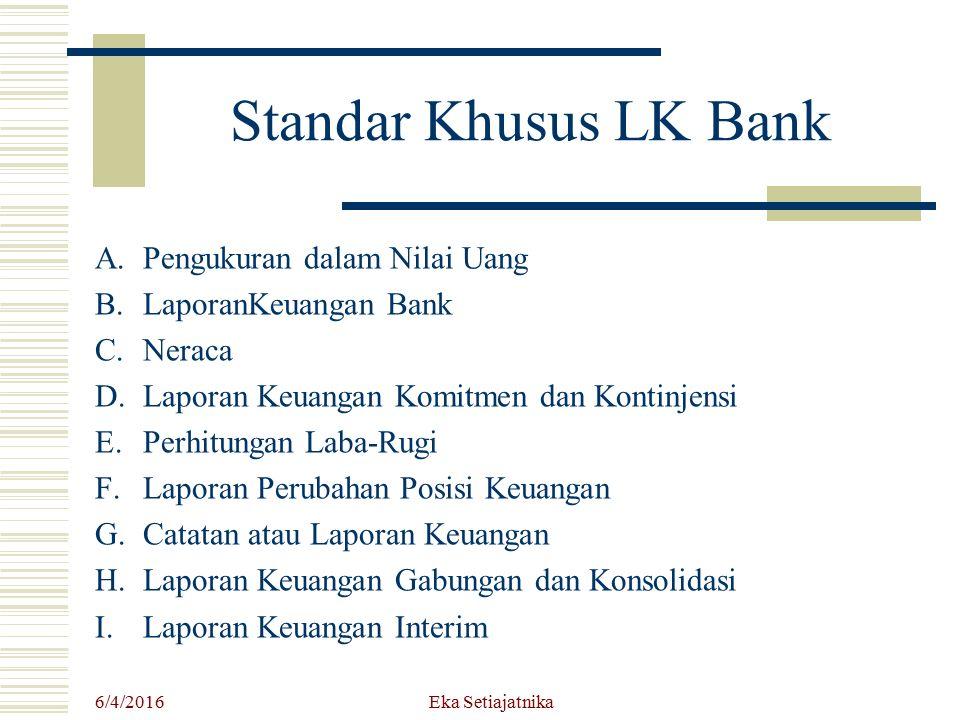 Standar Khusus LK Bank A.Pengukuran dalam Nilai Uang B.LaporanKeuangan Bank C.Neraca D.Laporan Keuangan Komitmen dan Kontinjensi E.Perhitungan Laba-Ru